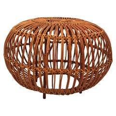 Mid Century Modern Vintage Rattan Pouf by Franco Albini, Italy, 1950s