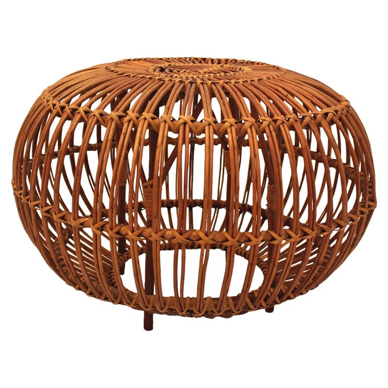 Mid-Century Modern Vintage Rattan Pouf Stool Franco Albini attr Italy, 1950s For Sale