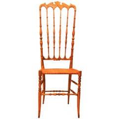 Mid Century Modern Beechwood Extra High Back Chiavari Chair Italy 1940s