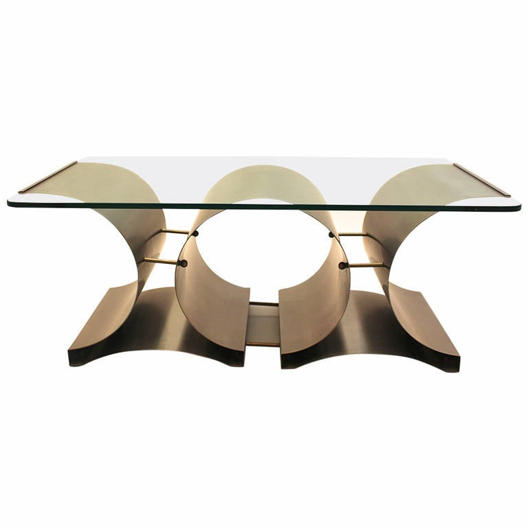 Stainless Steel Glass Coffee Table by Francois Monnet, France, circa 1970