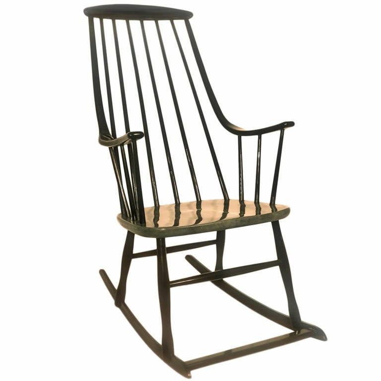 Bon Black Scandinavian Modern Rocking Chair Grandessa By Lena Larsson, Sweden,  1958 For Sale