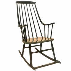 Black Scandinavian Modern Rocking Chair Grandessa By Lena Larsson Sweden