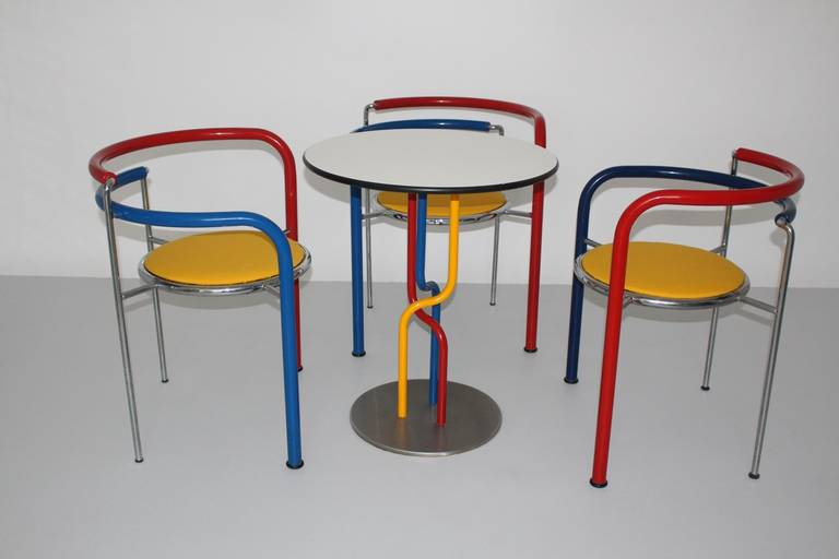 Modern Multicolored Seating Group by Rud Thygesen and Johnny Sorensen Denmark c 1989 For Sale