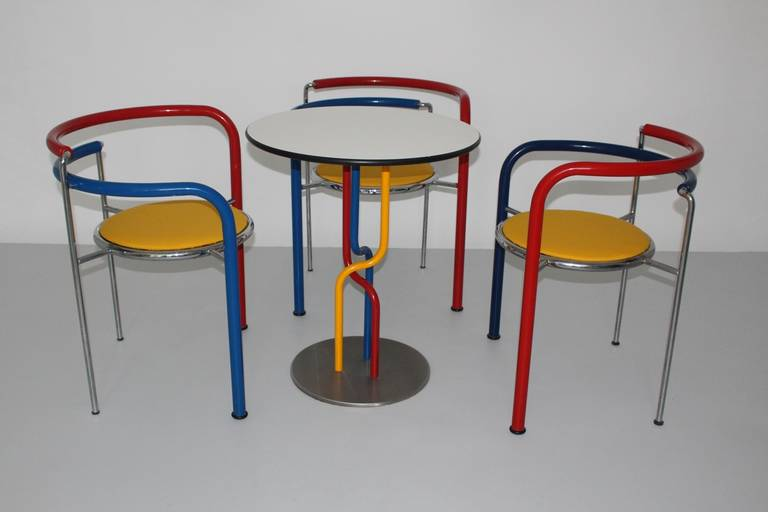 Table and three stacking chairs