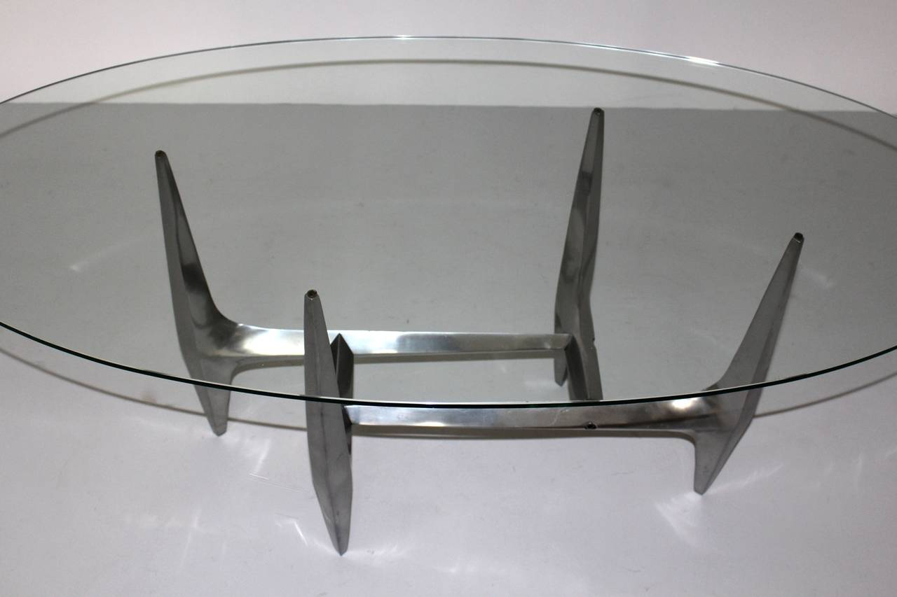 German  Mid Century Modern Metal Vintage Coffee Table by Knut Hesterberg 1960s For Sale