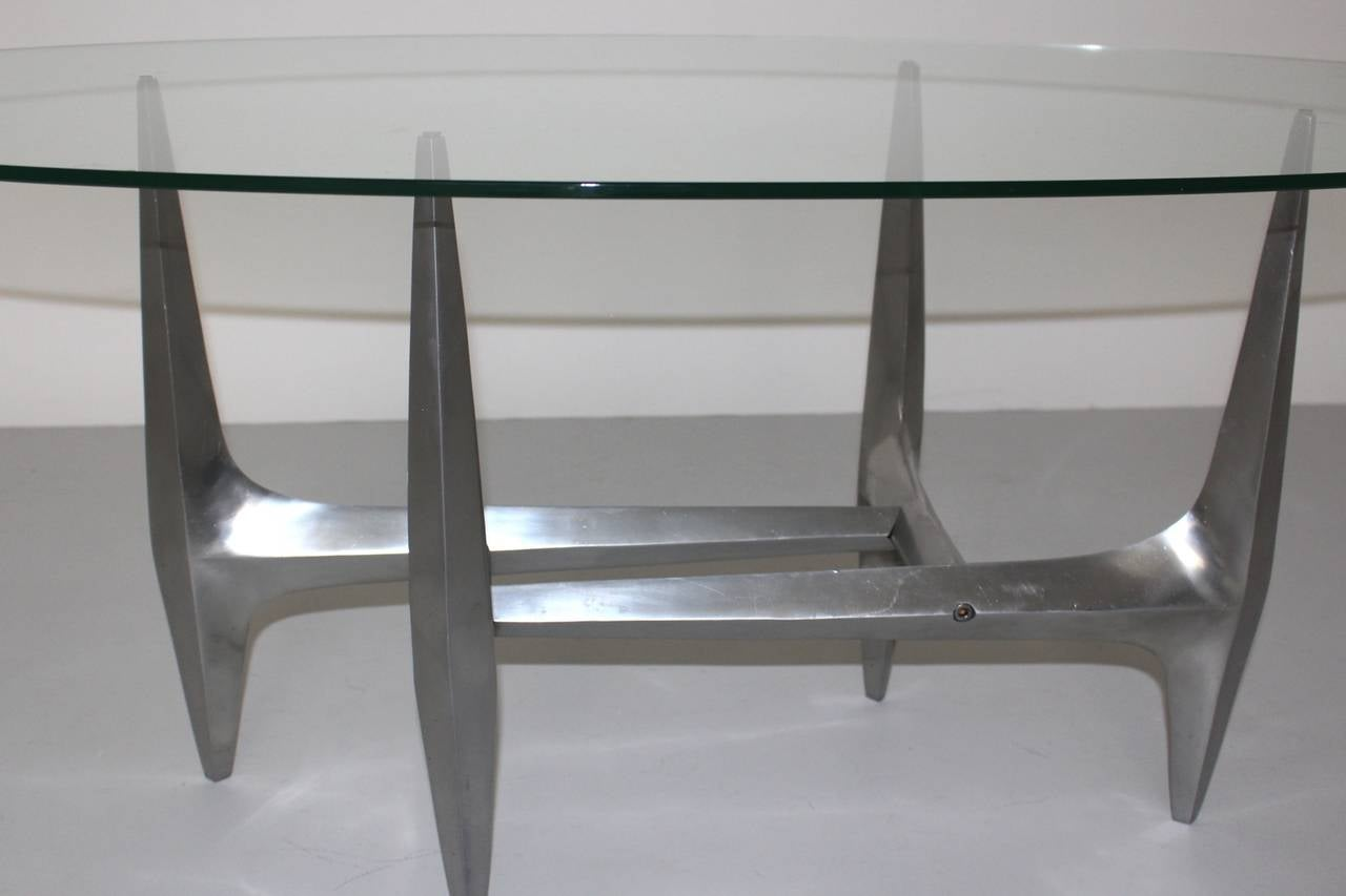 Polished  Mid Century Modern Metal Vintage Coffee Table by Knut Hesterberg 1960s For Sale
