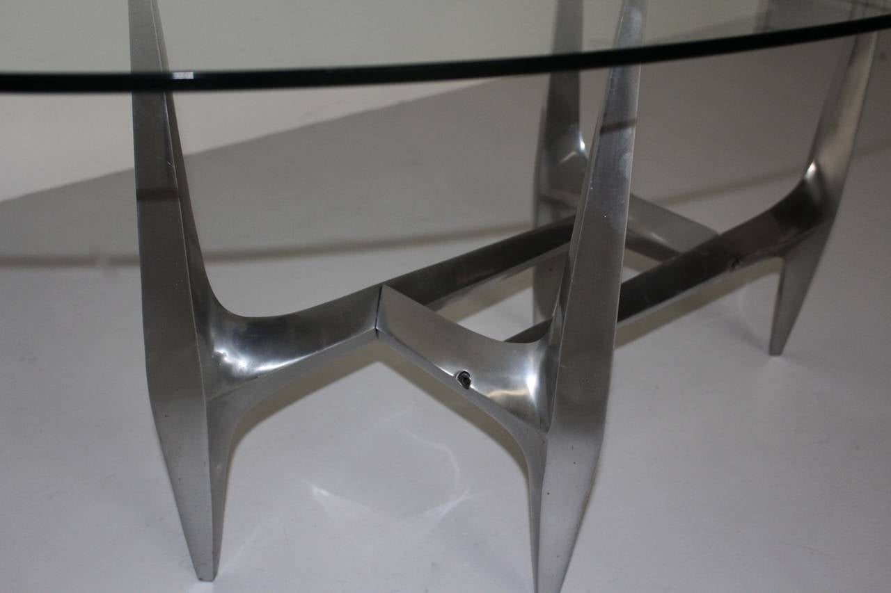 Space Age  Mid Century Modern Metal Vintage Coffee Table by Knut Hesterberg 1960s For Sale