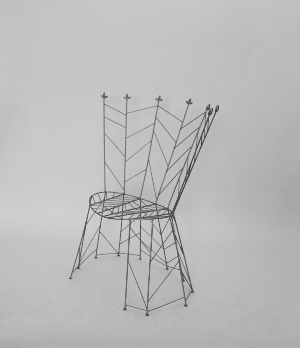 Iron Modernist Metal Vintage Chairs Pupeny by Bohuslav Horak 1988 Czech Republic For Sale