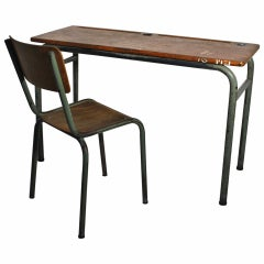Mid Century Modern Vintage Desk in style of Jean Prouve France c 1940 Wood Metal