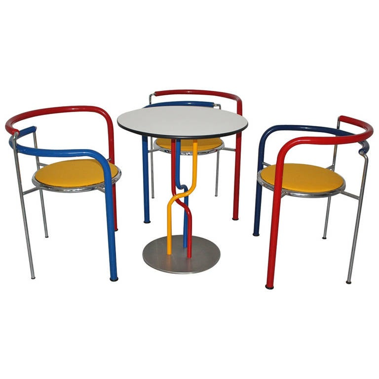 Multicolored Seating Group by Rud Thygesen and Johnny Sorensen Denmark c 1989 For Sale