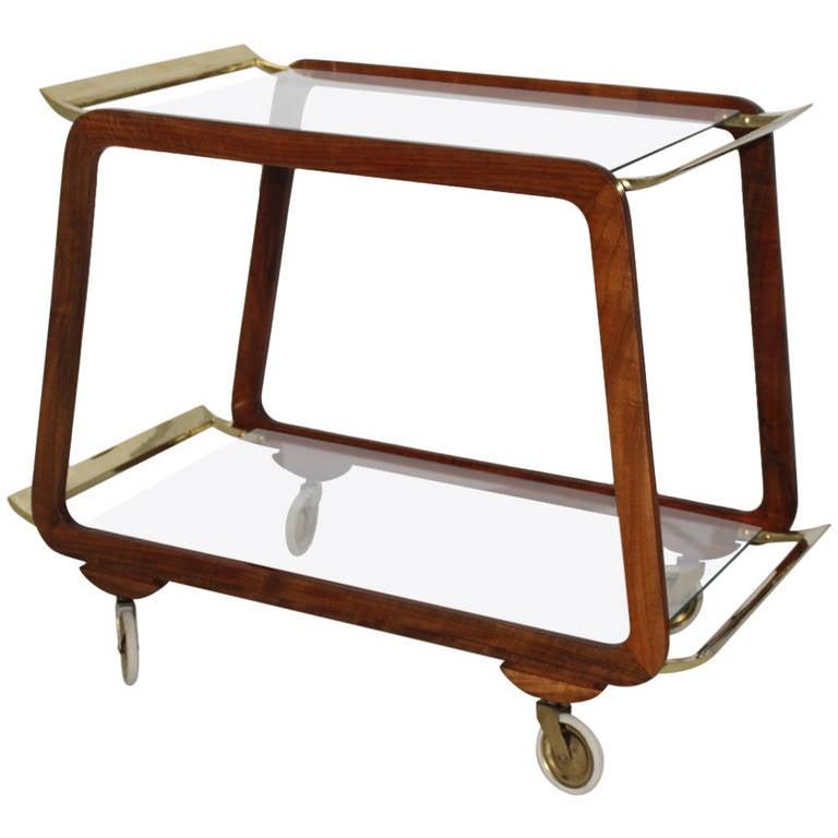 Mid Century Modern Walnut Brass Bar Cart, Vienna, Austria, 1960