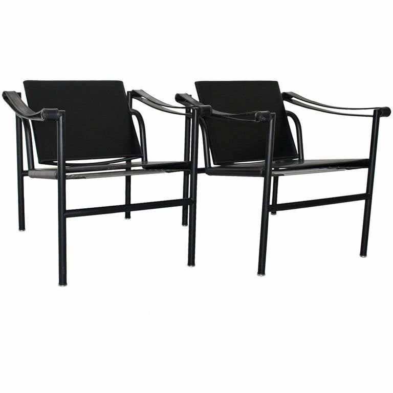 Two LC1 Basculant Chairs By Le Corbusier, Pierre Jeanneret, Charlotte  Perriand For Sale