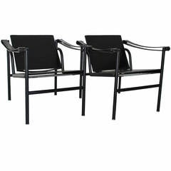 Two LC1 Basculant Chairs by Le Corbusier, Pierre Jeanneret, Charlotte Perriand