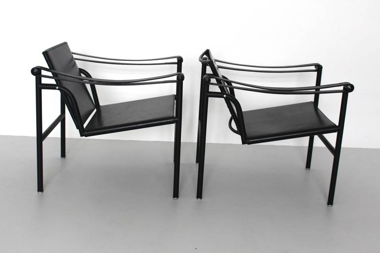 Bauhaus Two LC1 Basculant Chairs by Le Corbusier, Pierre Jeanneret, Charlotte Perriand