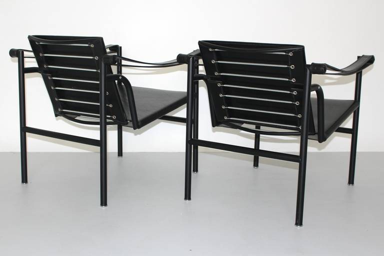 Italian Two LC1 Basculant Chairs by Le Corbusier, Pierre Jeanneret, Charlotte Perriand