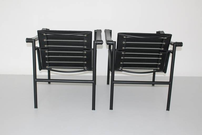 Lacquered Two LC1 Basculant Chairs by Le Corbusier, Pierre Jeanneret, Charlotte Perriand