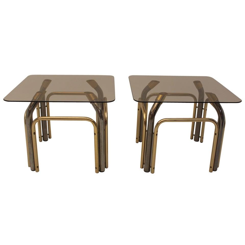 Mid Century Modern Vintage Metal Glass Coffee Table, Italy, 1970´s