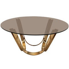 Brass Coffee Table by Trimark USA in the Style of Roger Sprunger for Dunbar
