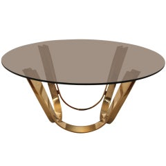 Brass VIntage Coffee Table by Trimark USA in the Style of Roger Sprunger Dunbar