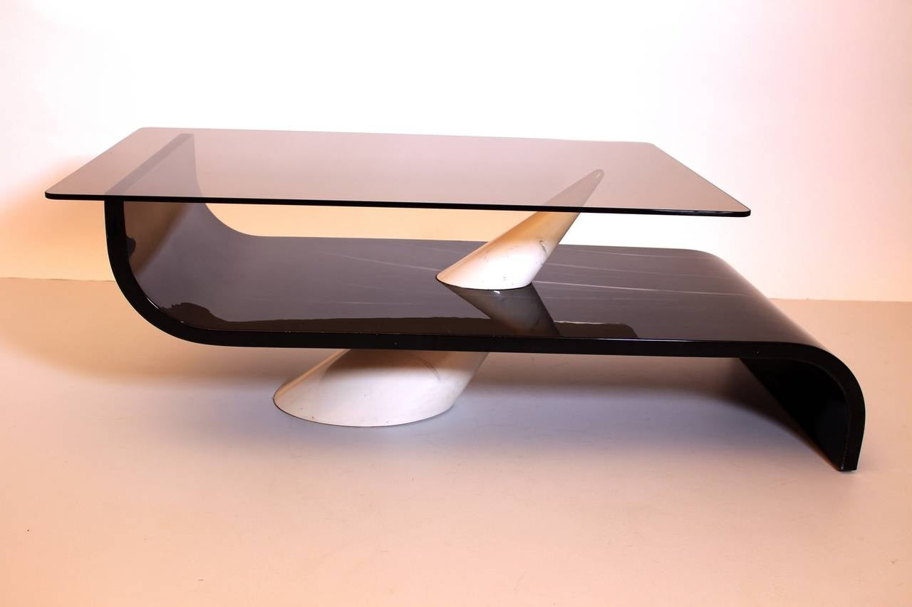 Mid-Century Modern Italian Vintage Grey White Glass and Ceramic Coffee Table, circa 1970 For Sale