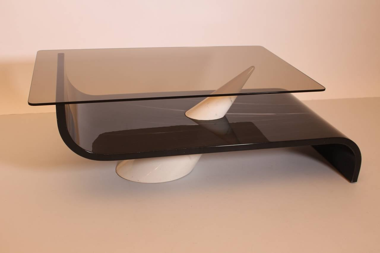 Hand-Crafted Italian Vintage Grey White Glass and Ceramic Coffee Table, circa 1970 For Sale