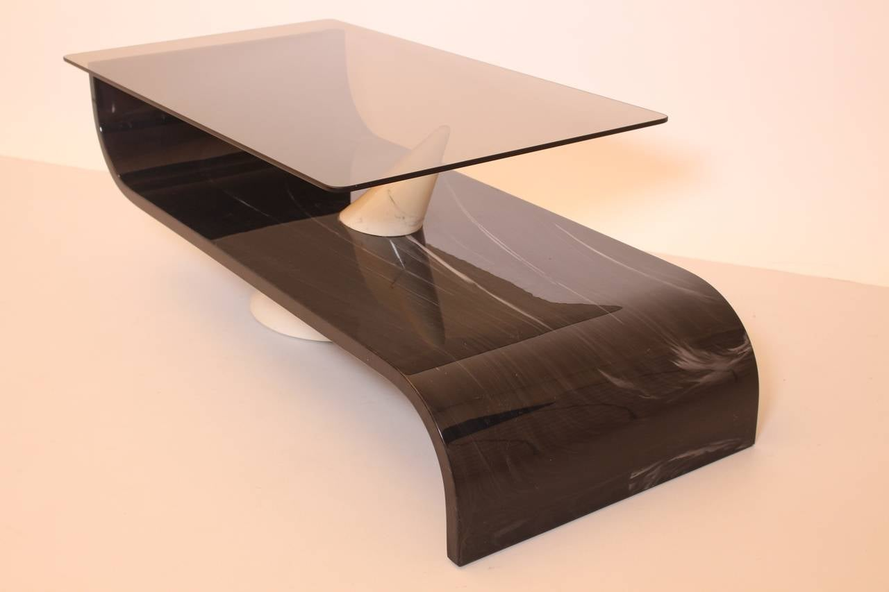 Italian Vintage Grey White Glass and Ceramic Coffee Table, circa 1970 In Good Condition For Sale In Vienna, AT