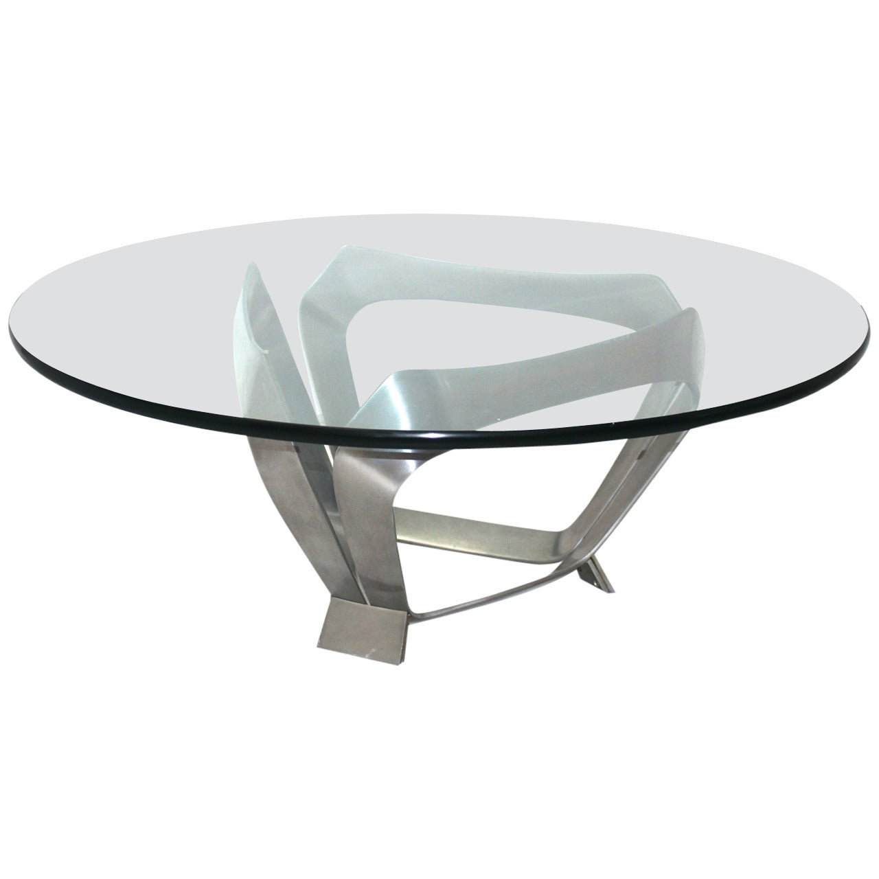 Modernist Aluminum Glass Vintage Coffee Table by Knut Hesterberg, Germany, 1970