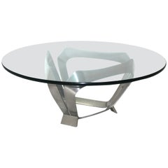Mid Century Modern Coffee Table by Knut Hesterberg, Germany, 1970 Metal Glass