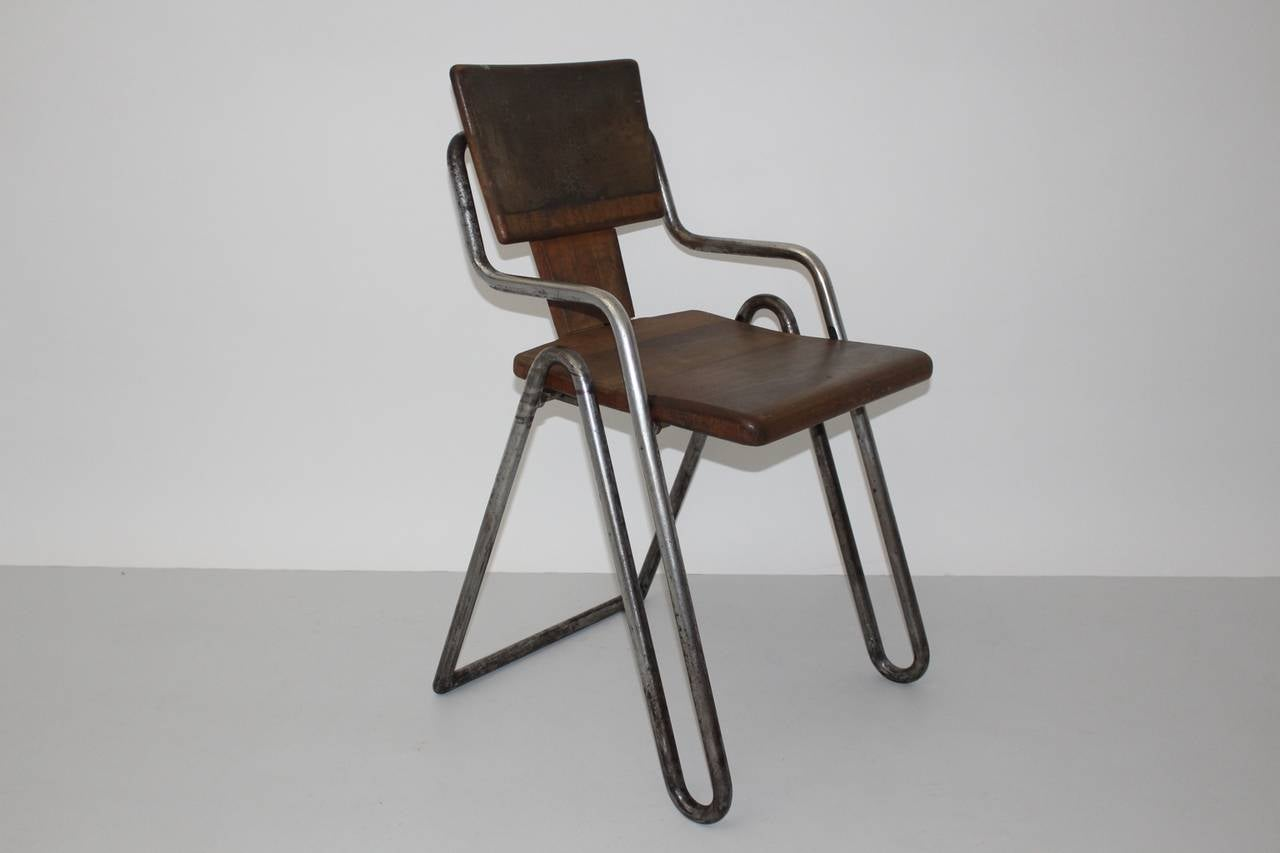 bauhaus industrial tubular steel chair by peter behrens germany circa 1930 for sale at 1stdibs. Black Bedroom Furniture Sets. Home Design Ideas