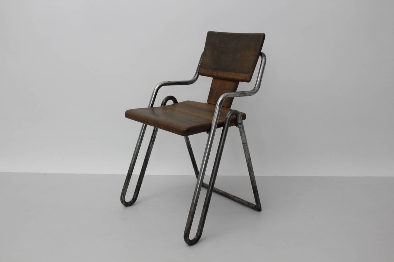 Peter Behrens Bauhaus Industrial Tubular Steel Chair Germany, circa 1930 In Good Condition For Sale In Vienna, AT