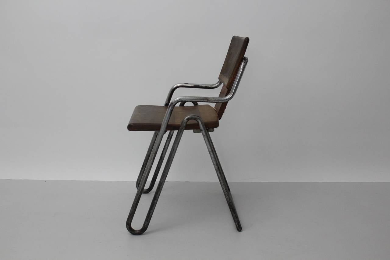 Mid-20th Century Peter Behrens Bauhaus Industrial Tubular Steel Chair Germany, circa 1930 For Sale