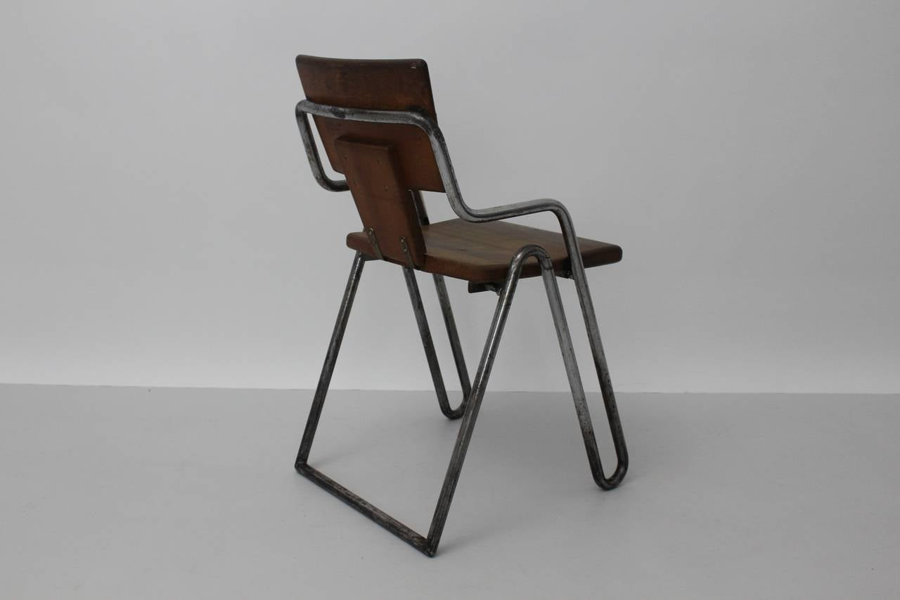 Peter Behrens Bauhaus Industrial Tubular Steel Chair Germany, circa 1930 For Sale 1