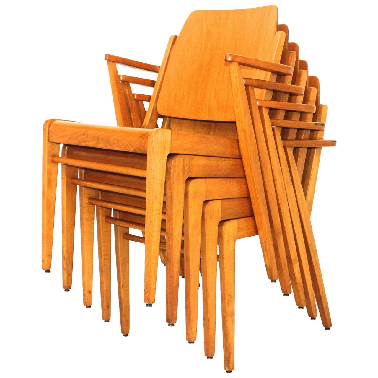 Beechwood Stacking Austro Chairs By Franz Schuster Vienna Austria 1959 For  Sale