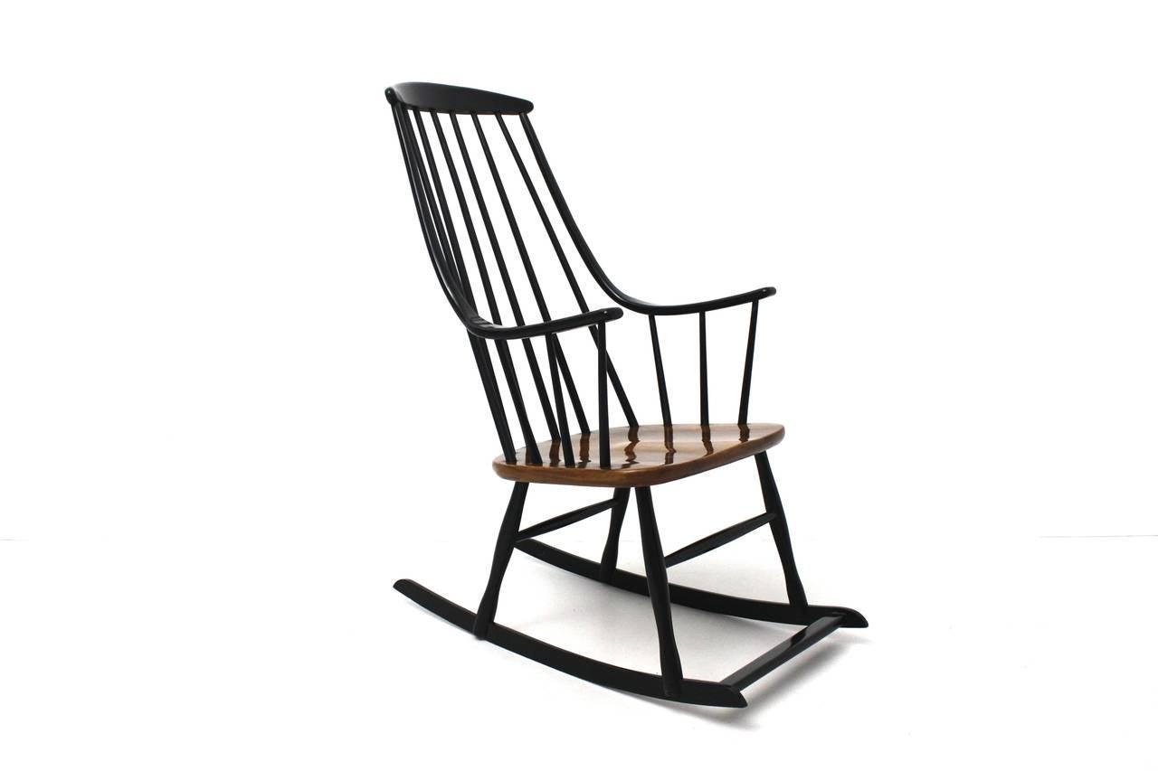 Superior Black Scandinavian Modern Rocking Chair Grandessa By Lena Larsson Sweden  1958 2