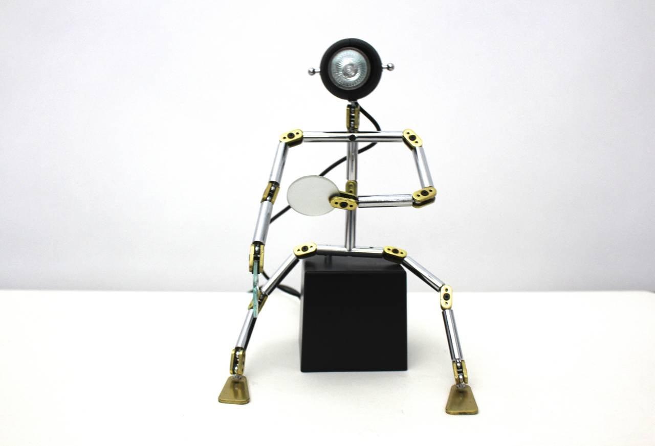 Italian Post Modern Metal Brass Light Object
