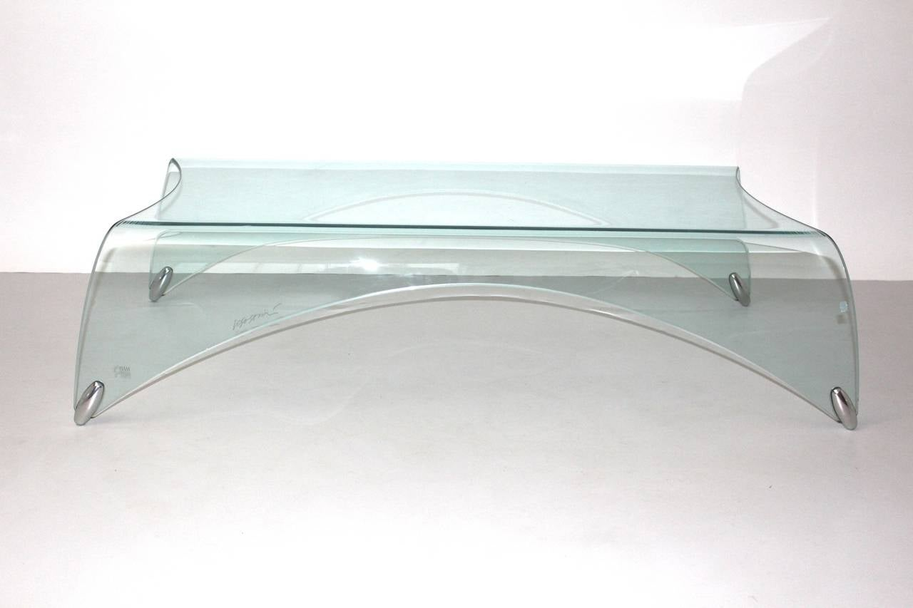 Italian Modern Glass Vintage Coffee Table Genio by Massimo Iosa Ghini Italy 20th Century For Sale