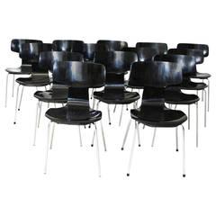 Black Scandinavian Modern Stacking Chairs by Arne Jacobsen, Denmark, 1952