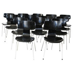 Black Scandinavian Modern Vintage Stacking Chairs by Arne Jacobsen Denmark, 1952
