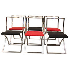 Red and Black Folding Dining Chairs Luisa by Marcello Cuneo 1970 Italy