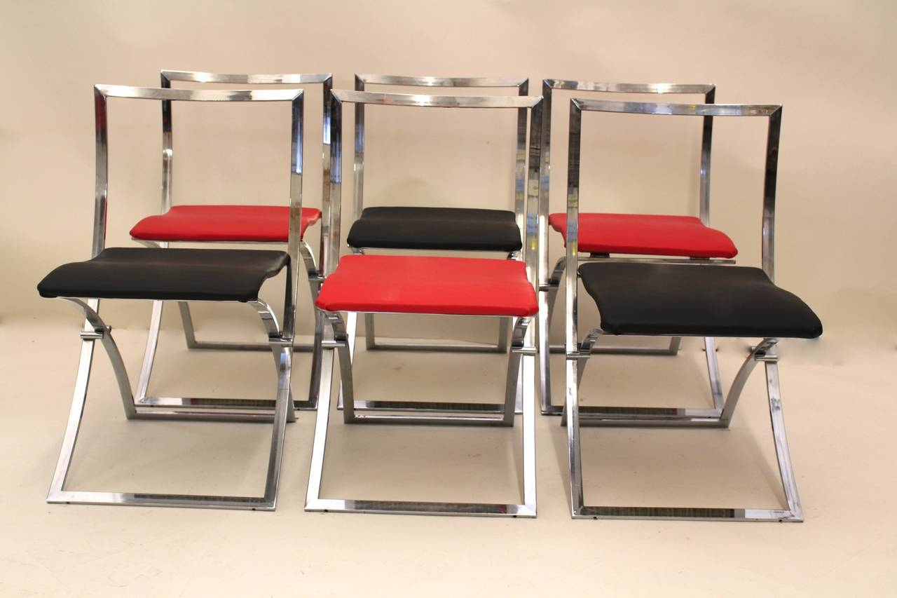 Red and Black Folding Dining Chairs Luisa by Marcello Cuneo 1970 Italy For Sa