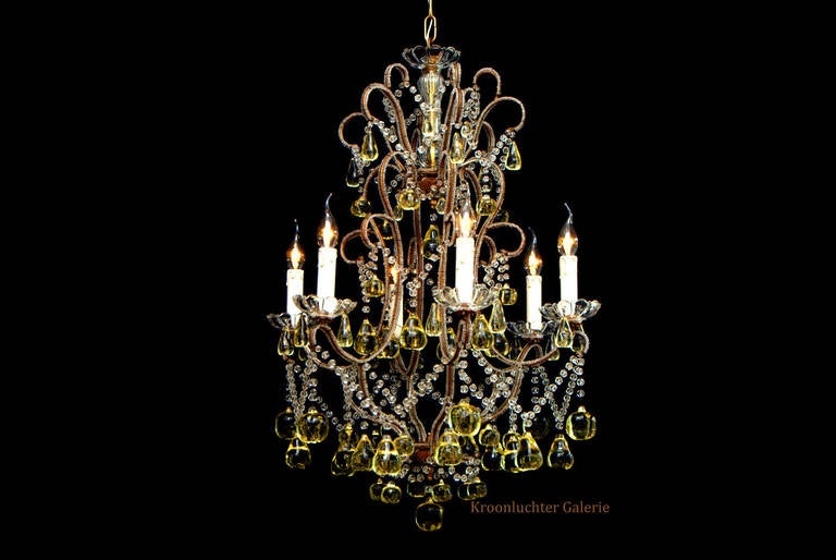 20th Century Italian Fruits Chandelier With Six Lights At