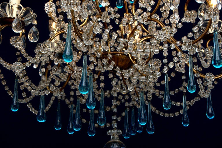 Gilt Metal Italian Chandelier With Six Lights And Blue