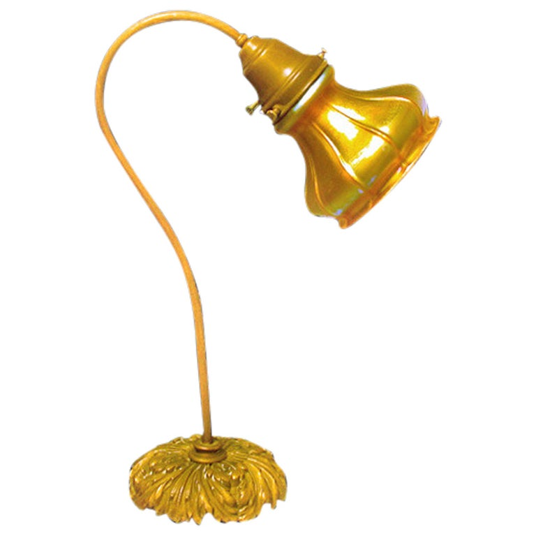 Quezal Glass Desk Lamp, circa 1910 For Sale