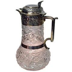 Antique English Silver Glass Claret Jug Hallmarked, 1896