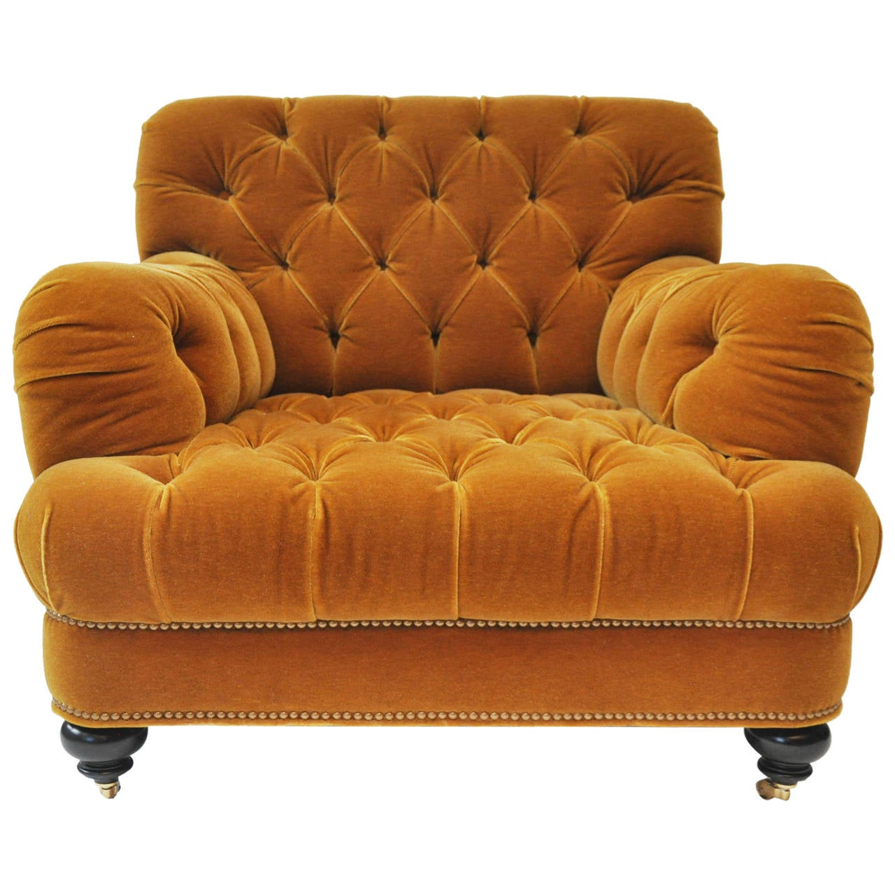 Unique Mohair Tufted Club Chair by John Boone at 1stdibs