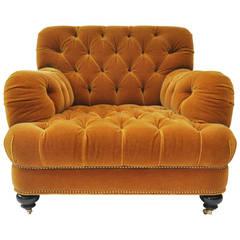 Unique Mohair Tufted Club Chair by John Boone