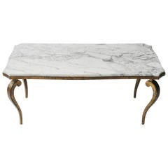 Marble and Gold-Leaf Cabriole Leg Coffee Table by Ramsay