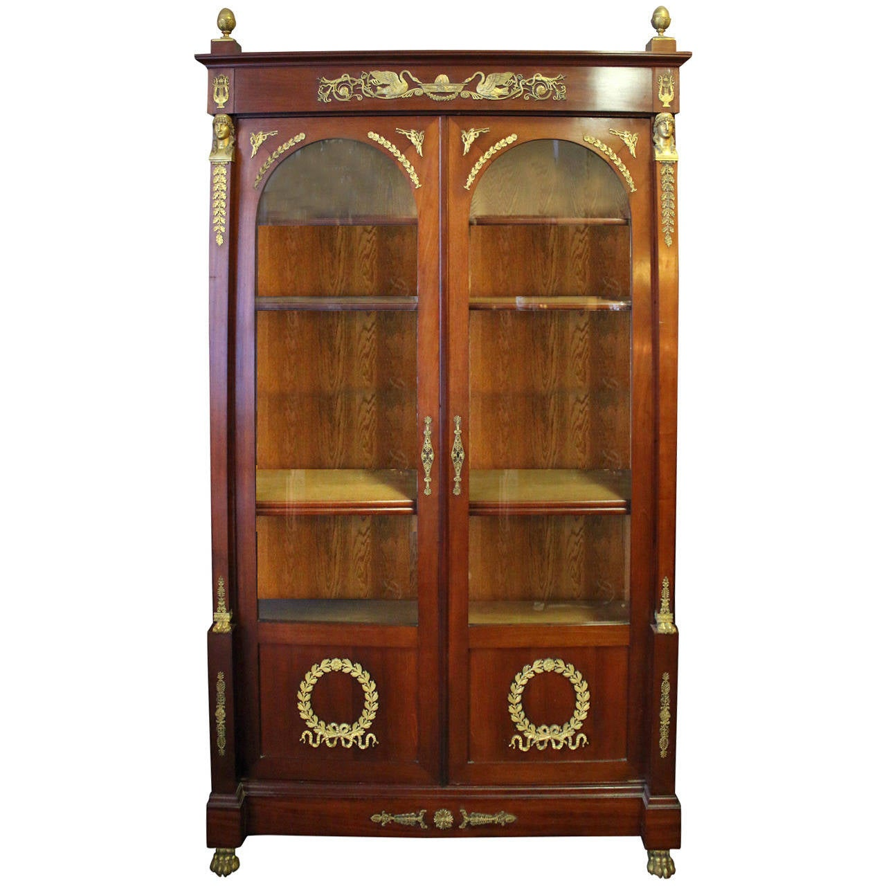 19th Century Empire Style French Mahogany Bookcase For Sale at 1stdibs