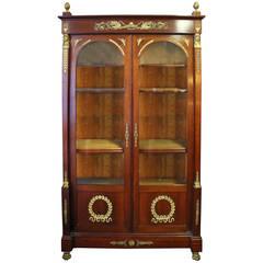 19th Century Empire Style French Mahogany Bookcase