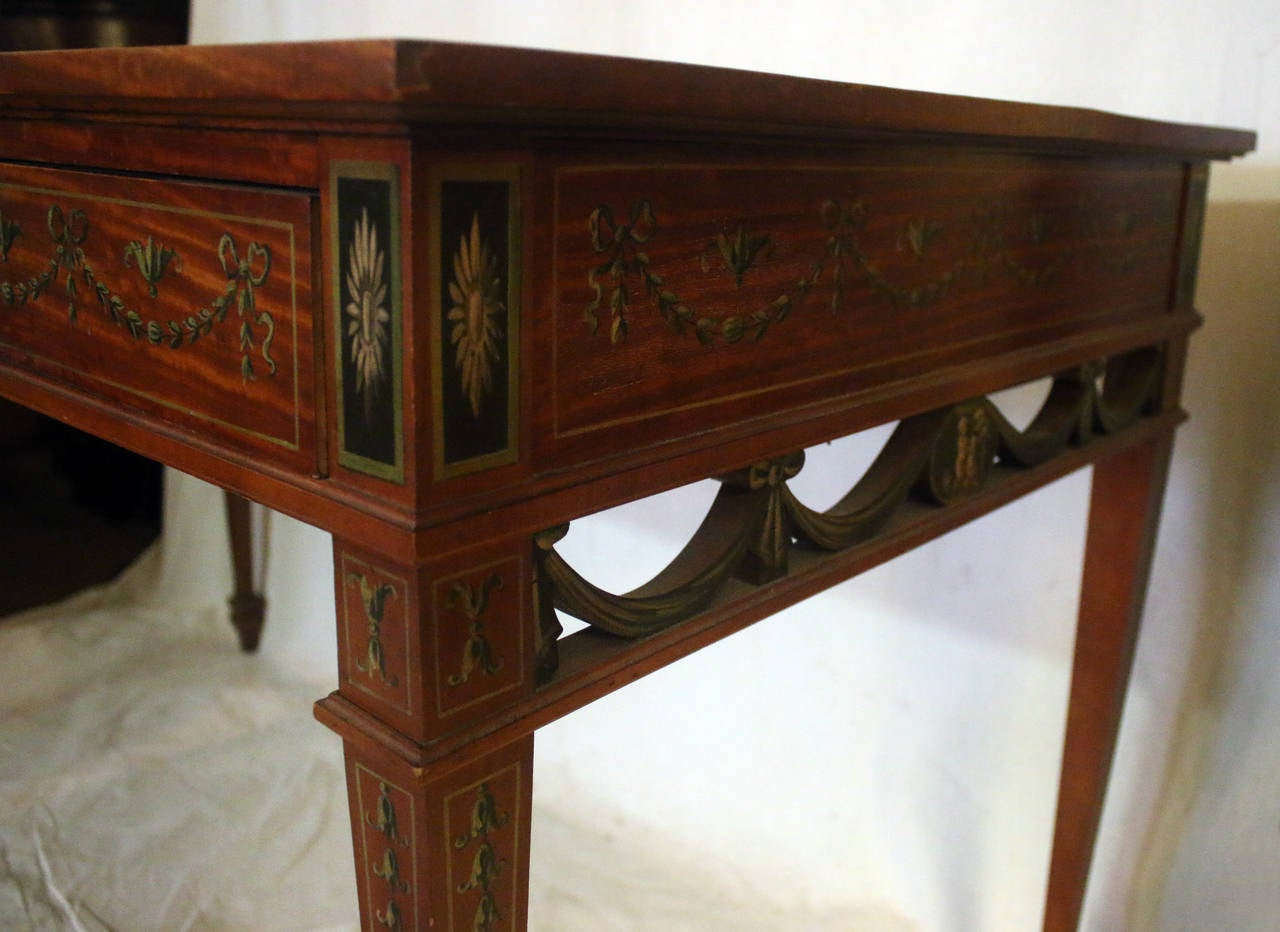 Painted 19th Century English Adam Style Satinwood Desk For Sale